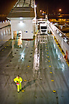 Embarking trailers on the ferry between Bari and Patras, winter 2009.