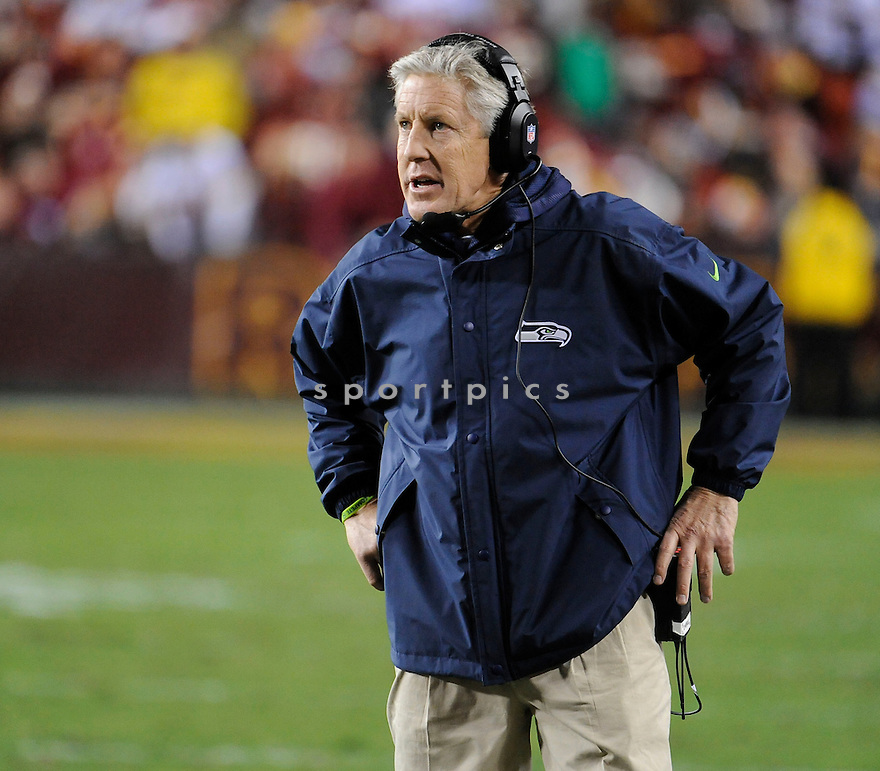 Seattle Seahawks Pete Carroll (HC) during a game against the Redskins in January 6, 2013 at FedExField in Washington, DC. The Seahawks beat the Ravens 24-14.