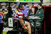 Maka Tatafu gets a ride back to the dugout after injuring his calf muscle during the ITM Cup Championship Division Round 2 rugby game between Counties Manukau Steelers and Manawatu, played at Bayer Growers Stadium Pukekohe, on Wednesday July 20th 2011. Counties Manukau won the game 32 - 25 after leading 19 - 18 at halftime.