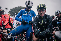 overall race leader Simon Yates (GBR/Michelton-Scott) at the race start on the Promenade des Anglais in torrential rained down Nice .<br /> <br /> 76th Paris-Nice 2018<br /> Stage 8: Nice > Nice (110km)
