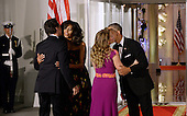 United States President Barack Obama and First Lady Michelle Obama, greet Prime Minister Justin Trudeau and Mrs. Sophie Gr&eacute;goire Trudeau of Canada on the North Portico of the White House March 10, 2016 in Washington,D.C. <br /> Credit: Olivier Douliery / Pool via CNP