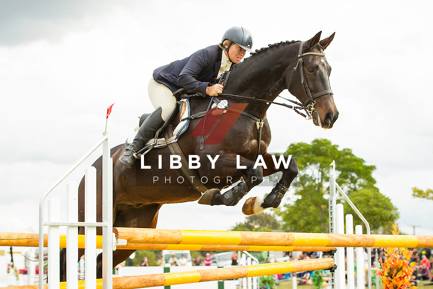 NZL-Shelley Ross (COLERAINE COALTOWN) FINAL-5TH: CIC3* SHOWJUMPING: 2014 NZL-BNZ Kihikihi International Horse Trial (Sunday 13 April) CREDIT: Libby Law COPYRIGHT: LIBBY LAW PHOTOGRAPHY - NZL