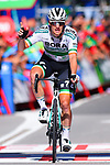 Sam Bennett (IRL) Bora-Hansgrohe wins Stage 14 of La Vuelta 2019 running 188km from San Vicente de la Barquera to Oviedo, Spain. 7th September 2019.<br /> Picture: Dario Belingheri/BettiniPhoto | Cyclefile<br /> <br /> All photos usage must carry mandatory copyright credit (© Cyclefile | Dario Belingheri/BettiniPhoto)