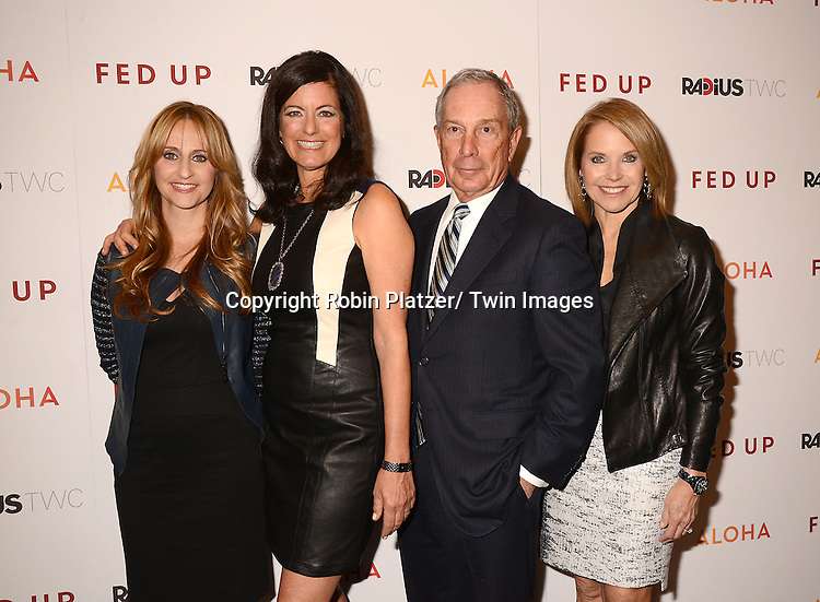 """Stephanie Soechtig, Laurie David, Michael Bloomberg and Katie Couric attend the New York Premiere of """"FED UP"""" on May 6, 2014 at The Museum of Modern Art in New York City."""