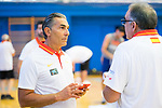 Coach Sergio Scariolo (l) during the first training of Spanish National Team of Basketball 2019 . July 26, 2019. (ALTERPHOTOS/Francis González)