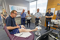 Pictured L-R: Rob Evans, animation manager,  Stuart Gall, CEO, reporter Julia Bradshaw, Nicholas Sleep, chief technical officer and Liam Goodyear, software engineer. Monday 01 July 2019<br /> Re: Intelligent Ultrasound in Cardiff, Wales, UK.