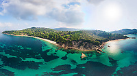 The beaches Agia Eleni and Banana of Skiathos island from drone, Greece