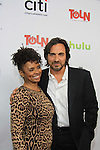 "All My Children's Thorsten Kaye ""Zach Slater"" poses with Debbi Morgan ""Angie Hubbard"" on the Red Carpet at New York Premiere Event for beloved series ""All My Children"" on April 23, 2013 at NYU Skirball, New York City, New York  as The Online Network (TOLN) - AMC - OLTL  begin airing on April 29, 2013 on Hulu, Hulu Plus. (Photo by Sue Coflin/Max Photos)"