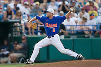 Florida's Kevin Chapman in Game 5 of the NCAA Division One Men's College World Series on Monday June 21st, 2010 at Johnny Rosenblatt Stadium in Omaha, Nebraska.  (Photo by Andrew Woolley / Four Seam Images)