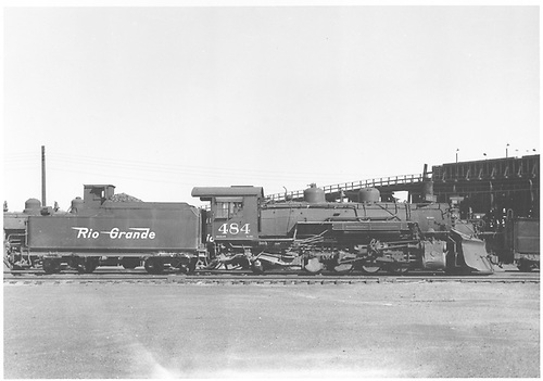 Side view of K-36 #484 with coal trestle in background at Alamosa ?<br /> D&amp;RGW  Alamosa ?, CO