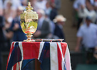The Wimbledon Mens singles Trophy and the runners up dish prepared for presentation, Wimbledon Championships 2016, Day Fourteen, All England Lawn Tennis & Croquet Club, Church Rd, London, United Kingdom - 10th July 2016