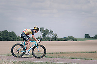belgian champion Oliver Naesen (BEL/AG2R-LaMondiale) coming back after a mechanical<br /> <br /> 104th Tour de France 2017<br /> Stage 7 - Troyes &rsaquo; Nuits-Saint-Georges (214km)