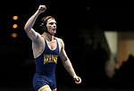 LA CROSSE, WI - MARCH 11: Dan Del Gallo of Southern Maine celebrates after beating Aaron Engle of Cornell College in the 149 weight class during NCAA Division III Men's Wrestling Championship held at the La Crosse Center on March 11, 2017 in La Crosse, Wisconsin. Dan Del Gallo beat Engle 4-1 to win the National Championship. (Photo by Carlos Gonzalez/NCAA Photos via Getty Images)