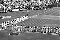 "Start of the ""Battle of the Bay"", the 1989 World Series between the Oakland Athletics and the San Francisco Giants at the Oakland Alameda County Coliseum. (Oct 15,1989 photo by Ron Riesterer)"