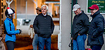 LOUISVILLE, KENTUCKY - APRIL 28: Trainer Bob Baffert holds court during morning workouts at Churchill Downs in Louisville, Kentucky on April 28, 2019. Scott Serio/Eclipse Sportswire/CSM