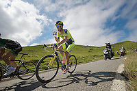 Michael Rogers (AUS/Tinkoff-Saxo) taking a quick sip on the descent of the <br /> <br /> 2014 Tour de France<br /> stage 16: Carcassonne - Bagnères-de-Luchon (237km)