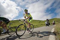 Michael Rogers (AUS/Tinkoff-Saxo) taking a quick sip on the descent of the <br /> <br /> 2014 Tour de France<br /> stage 16: Carcassonne - Bagn&egrave;res-de-Luchon (237km)