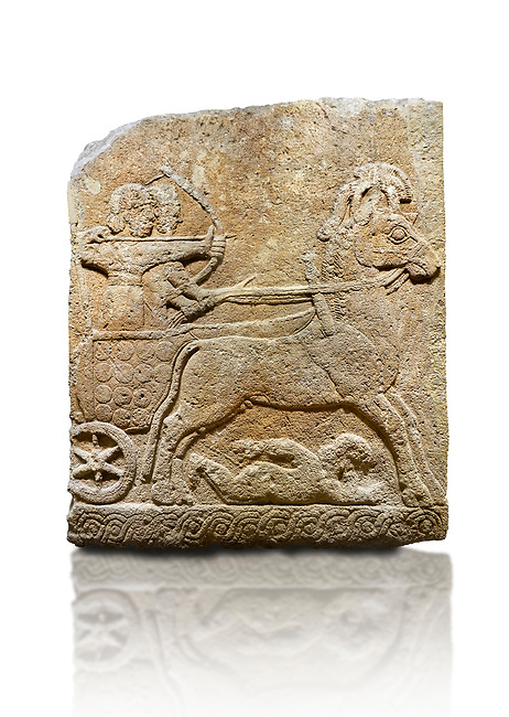 Hittite relief sculpted orthostat stone panel of Long Wall Limestone, Karkamıs, (Kargamıs), Carchemish (Karkemish), 900 - 700 B.C. Chariot. Anatolian Civilisations Museum, Ankara, Turkey<br /> <br /> One of the two figures in the chariot holds the horse's headstall while the other throws arrows. There is a naked enemy with an arrow in his hip lying face down under the horse's feet It is thought that this figure is depicted smaller than the other figures since it is an enemy soldier. The lower part of the orthostat is decorated with braiding motifs. . <br /> <br /> On a White Background.