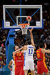 Marc Gasol (L) and Pierre Oriola (R) of Spain and Eloy Vargas of Dominican Republic during the Friendly match between Spain and Dominican Republic at WiZink Center in Madrid, Spain. August 22, 2019. (ALTERPHOTOS/A. Perez Meca)