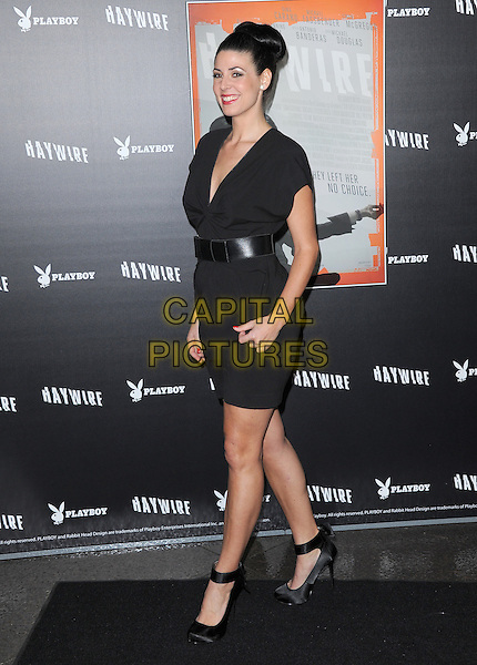 Natascha Berg.The L.A. Premiere of 'Haywire' held at The DGA in West Hollywood, California, USA..January 5th, 2012.full length dress belt side black hair up belt ankle strap .CAP/RKE/DVS.©DVS/RockinExposures/Capital Pictures.