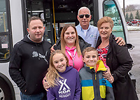 After 30 years as a City of Sarnia bus driver Barry Mackay is retiring. Through the years he has travelled two main bus routes and has accumulated many friends. He was joined by family and friends for a surprise ride-a-long. Family are from leftMaurice and Kristin Richard with their children Riece and Chase and Barry and Isabell Mackey.