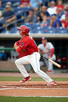 Clearwater Threshers center fielder Mark Laird (6) follows through on a swing during a game against the Palm Beach Cardinals on April 15, 2017 at Spectrum Field in Clearwater, Florida.  Clearwater defeated Palm Beach 2-1.  (Mike Janes/Four Seam Images)