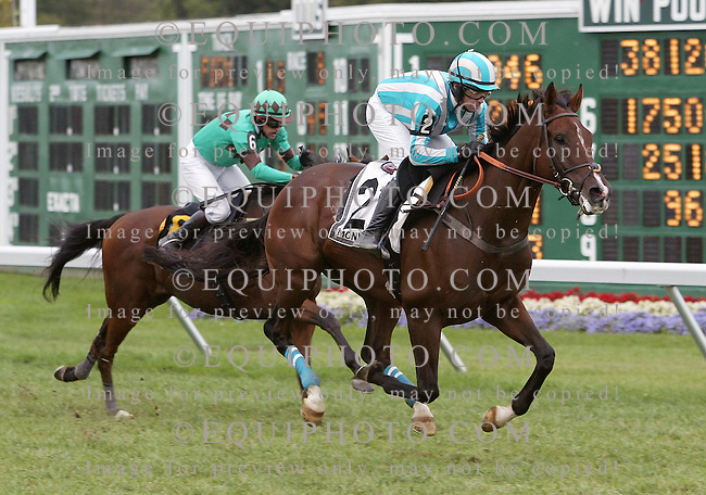 Tricky Me with William Dowling riding won the $70,000 Metcalf Memorial Novice Stakes at Monmouth Park in Oceanport, N.J. on Saturday September 26, 2009.  Photo By Jessica Denver/EQUI-PHOTO