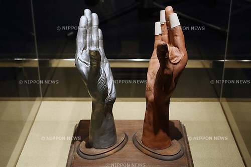 May 12, 2010 - Tokyo, Japan - Two life-cast models of Michael Jackson's forearms and hands are on display at the 'Michael Jackson - The official Lifetime Collection' exhibition, in a hall at the foot of Tokyo Tower, Tokyo, Japan, on May 12, 2010. More than 280 items of Michael Jackson memorabilia including crystal-studded gloves and favorite 1967 Rolls Royce are on display until July 4.  (c) MICHAEL JACKSON ESTATE.