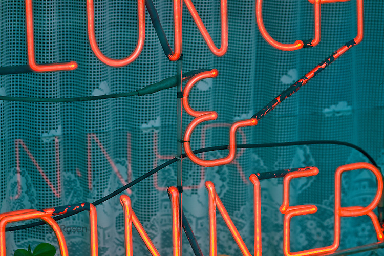 Close-up of Lunch and Dinner restaurant sign, Brooklyn, New York