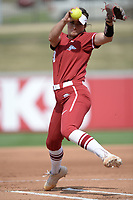NWA Democrat-Gazette/ANDY SHUPE<br /> Arkansas starter Autumn Storms delivers to the plate Wednesday, April 10, 2019, against Wichita State during the first inning at Bogle Park in Fayetteville. Visit nwadg.com/photos to see more photographs from the game.