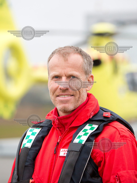 Pilot Jan Nielsen<br /> <br /> Denmarks first  air ambulance serivce, operated by Norwegian Air Ambulance. The crew is pilot Jan Nielsen, HEMS paramedic Lars Greve-Wilms and doctor Rikke Helene Rasmussen. <br /> <br /> The crew operate an Airbus EC-135 out of the Ringsted base, one of three bases in Denmark.
