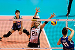 Ai Kurogo of Japan (L) blocks Anna Danesi of Italy (R) during the FIVB Volleyball Nations League Hong Kong match between Japan and Italy on May 29, 2018 in Hong Kong, Hong Kong. Photo by Marcio Rodrigo Machado / Power Sport Images