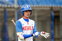 14 September 2009: Second base Myung-Gu Kang of South Korea is seen in the batter box during the 2009 Baseball World Cup Group F second round match game won 15-5 by South Korea over Great Britain, in the Dutch city of Amsterdan, Netherlands.