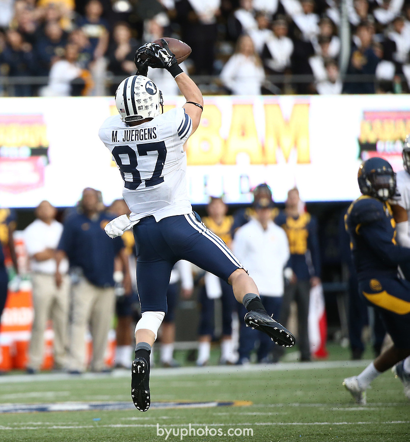 {filename base}<br /> <br /> BYU wide receiver Mitchell Juergens makes a catch during the second half. The BYU Football Team defeated Cal by the score of 42-35 at California Memorial Stadium in Berkeley, California. <br /> November 29, 2014<br /> <br /> Photo by Mark A. Philbrick/BYU<br /> <br /> &copy; BYU PHOTO 2014<br /> All Rights Reserved<br /> photo@byu.edu  (801)422-7322