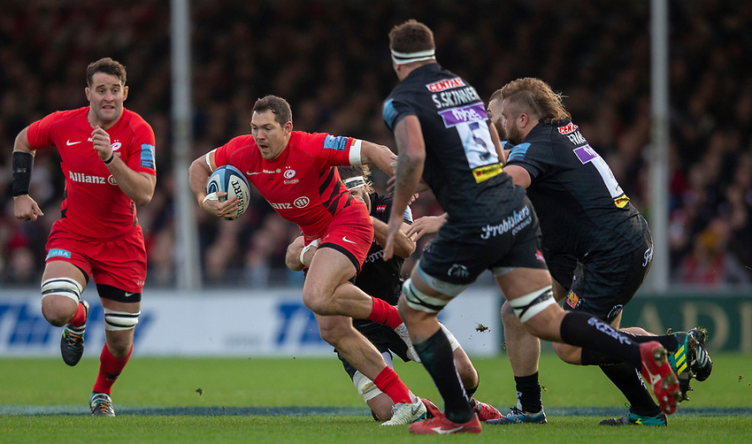 Saracens' Alex Goode in action during todays match<br /> <br /> Photographer Bob Bradford/CameraSport<br /> <br /> Gallagher Premiership Round 10 - Exeter Chiefs v Saracens - Saturday 22nd December 2018 - Sandy Park - Exeter<br /> <br /> World Copyright © 2018 CameraSport. All rights reserved. 43 Linden Ave. Countesthorpe. Leicester. England. LE8 5PG - Tel: +44 (0) 116 277 4147 - admin@camerasport.com - www.camerasport.com