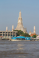 Bangkok, Thailand.  Wat Arun and the Chao Phraya River, Early Morning.