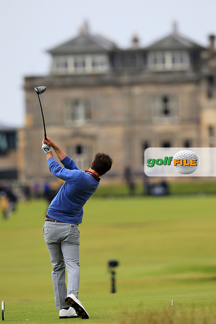 \Romain Langasque (FRA) (a)\ on the 18th during the final round on Monday of the 144th Open Championship, St Andrews Old Course, St Andrews, Fife, Scotland. 20/07/2015.<br /> Picture: Golffile | Fran Caffrey<br /> <br /> <br /> All photo usage must carry mandatory copyright credit (&copy; Golffile | Fran Caffrey)