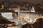 Blick auf die Altstadt (Baixa) mit dem Praca do Rossio, Lissabon, Portugal