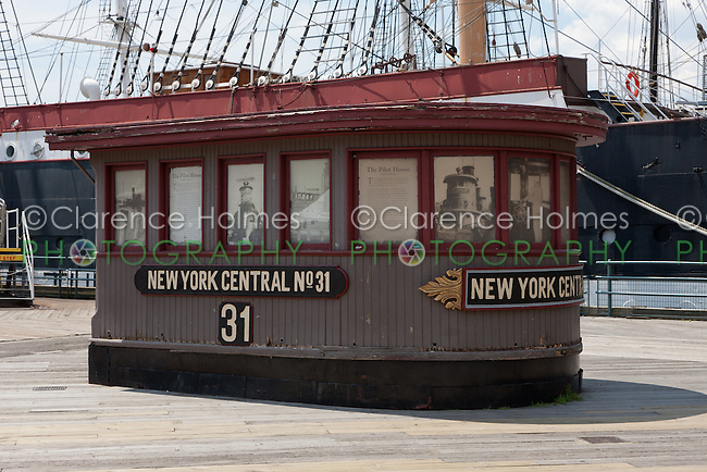 The Pilot House of former New York Central steam tugboat number 31 on display on Pier 16 at South Street Seaport in New York CIty