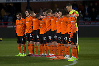 8th November 2019; Dens Park, Dundee, Scotland; Scottish Championship Football, Dundee Football Club versus Dundee United; Dundee United observe a minutes silence for remembrance weekend - Editorial Use