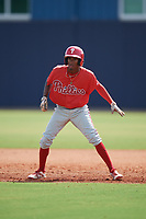 GCL Phillies East Jevi Hernandez (26) leads off during a Gulf Coast League game against the GCL Yankees East on July 31, 2019 at Yankees Minor League Complex in Tampa, Florida.  GCL Yankees East defeated the GCL Phillies East 11-0 in the first game of a doubleheader.  (Mike Janes/Four Seam Images)