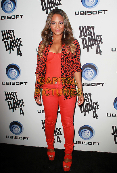 Christina Milian.Ubisoft Presents The Launch Of Just Dance 4 held at Lexington Social House, Hollywood, California, USA..October 2nd, 2012.full length red orange leopard print blazer corset top cleavage jeans denim  shoes .CAP/ADM/FS.©Faye Sadou/AdMedia/Capital Pictures.
