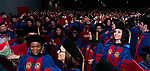 Students flip their tassels after receiving their degrees at the DePaul University College of Law commencement ceremony, Sunday, May 14, 2017, at the Rosemont Theatre in Rosemont, IL, where some 240 students received their Juris Doctors or Master of Laws degrees. (DePaul University/Jeff Carrion)
