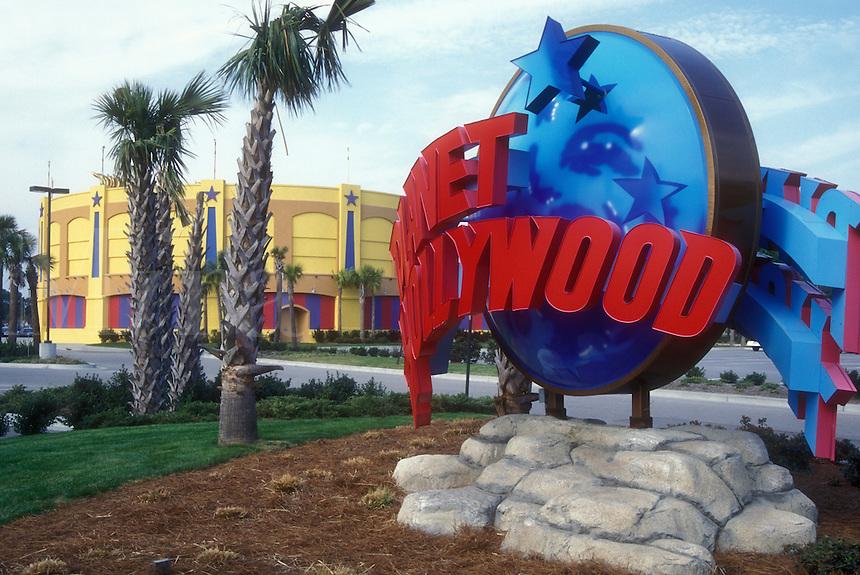 AJ1604, Planet Hollywood, Myrtle Beach, South Carolina, Planet Hollywood restaurant sign in Myrtle Beach, South Carolina.