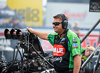 Sep 2, 2018; Clermont, IN, USA; Crew member for NHRA top fuel driver Terry McMillen during qualifying for the US Nationals at Lucas Oil Raceway. Mandatory Credit: Mark J. Rebilas-USA TODAY Sports
