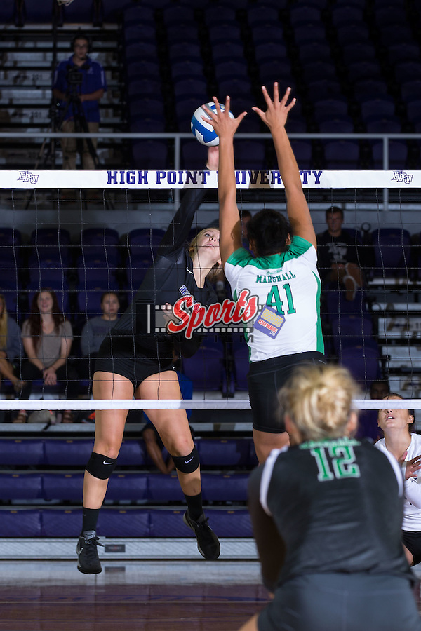 Haley Barnes (20) of the High Point Panthers attacks the ball during the match against the Marshall Thundering Herd at the Panther Invitational at the Millis Athletic Center on September 12, 2015 in High Point, North Carolina.  The Thundering Herd defeated the Panthers 3-2.   (Brian Westerholt/Sports On Film)