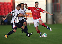 Crewe Alexandra's Brad Walker is tackled by Bolton Wanderers' Adam Armstrong<br /> <br /> Photographer Rachel Holborn/CameraSport<br /> <br /> The Carabao Cup - Crewe Alexandra v Bolton Wanderers - Wednesday 9th August 2017 - Alexandra Stadium - Crewe<br />  <br /> World Copyright &copy; 2017 CameraSport. All rights reserved. 43 Linden Ave. Countesthorpe. Leicester. England. LE8 5PG - Tel: +44 (0) 116 277 4147 - admin@camerasport.com - www.camerasport.com