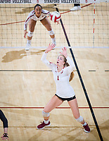 STANFORD, CA - October 12, 2018: Jenna Gray at Maples Pavilion. No. 2 Stanford Cardinal swept No. 21 Washington State Cougars, 25-15, 30-28, 25-12.