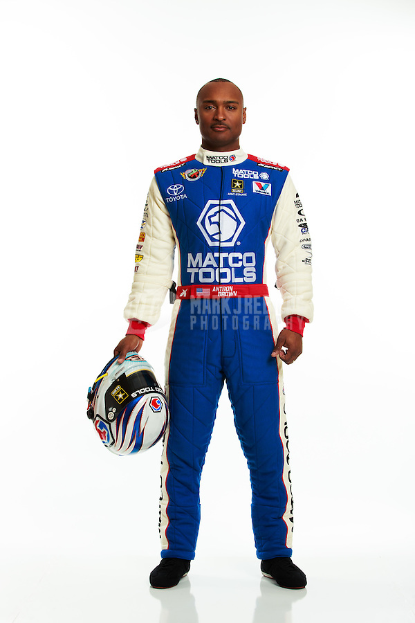 Jan 16, 2014; Palm Beach Gardens, FL, USA; NHRA top fuel driver Antron Brown poses for a portrait. Mandatory Credit: Mark J. Rebilas-