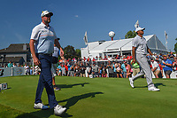Marc Leishman (AUS) and Tiger Woods (USA) head down 17 during 3rd round of the World Golf Championships - Bridgestone Invitational, at the Firestone Country Club, Akron, Ohio. 8/4/2018.<br /> Picture: Golffile | Ken Murray<br /> <br /> <br /> All photo usage must carry mandatory copyright credit (© Golffile | Ken Murray)